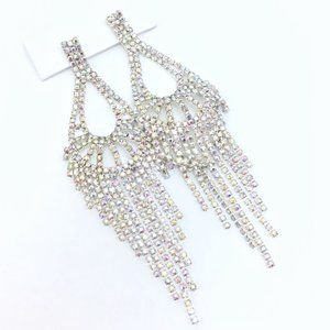 """Prom Pageant Bridal Jewelry - PROM PAGEANT 5"""" AB Crystal Occasion Earrings"""